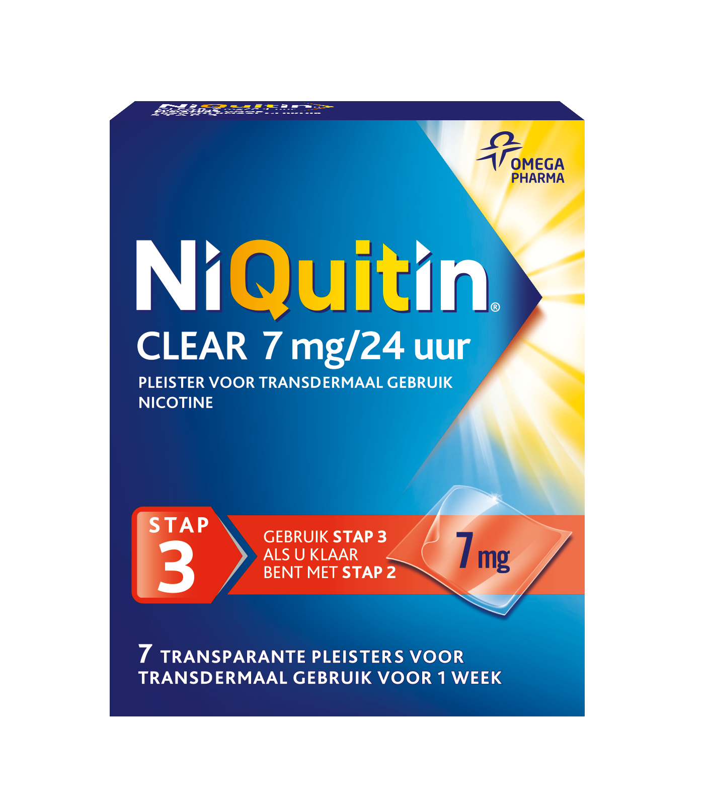 NiQuitin Clear Pleister Stap 3 / 7 mg